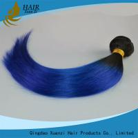 China Light Blue 14 Inch Length Ladys Hair Extensions 100% Virgin Human Hair Straight wholesale