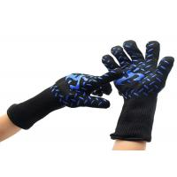 China 30 CM Safety Heat Resistant Work Gloves Blue Silicone Print Material on sale