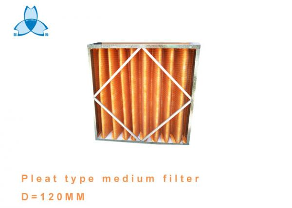 Quality Metal Frame Pleat Type Medium Pre Air Filter Large Air Flow Low Pressure for sale