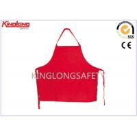 China Custom Chef Coats Kitchen Apron / Cotton Red Bib Apron Approved SGS wholesale