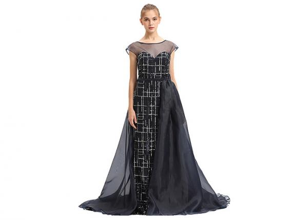 Quality Black Organza Prom Party Dress For Arabic Women Sweep Train XS , S , M , L Size for sale