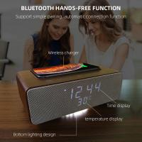 China Wireless Charging Bluetooth Stereo Speakers Alarm Clock Room Temperature Display wholesale