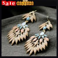 China Opal Long Drop Earrings,Promotion Plant Flower Leaf Colorful Golden Big Earrings for Women wholesale