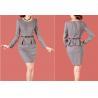 China Fashion Ladies Business Suits , Women's Gray Knee Length Peplum Dress wholesale