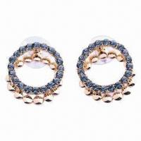 China Eco-friendly Zinc-alloy Beautiful Hoop Earrings for Pretty Women and Girls' with Rhinestone wholesale