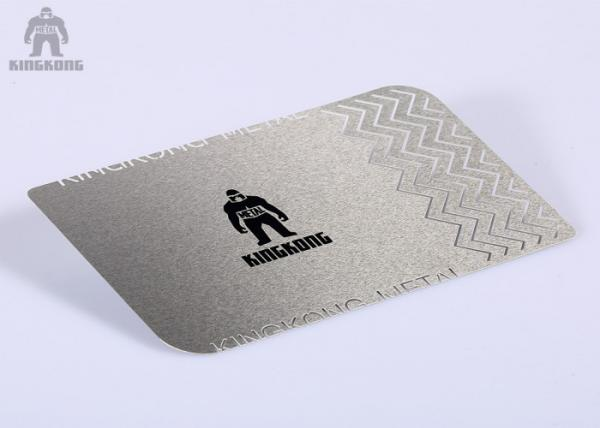 Quality Stainless Steel Silver Metallic Business Cards Silkscreen Printing  85x54mm for sale