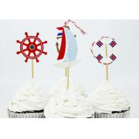 Coated Paper Cake Decorating Items For Kids Party Sea Ship Anchor Style