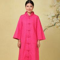 China Pink Thick Chinese Cotton Padded Jacket L XL XXL Size With Pockets / Front Open wholesale