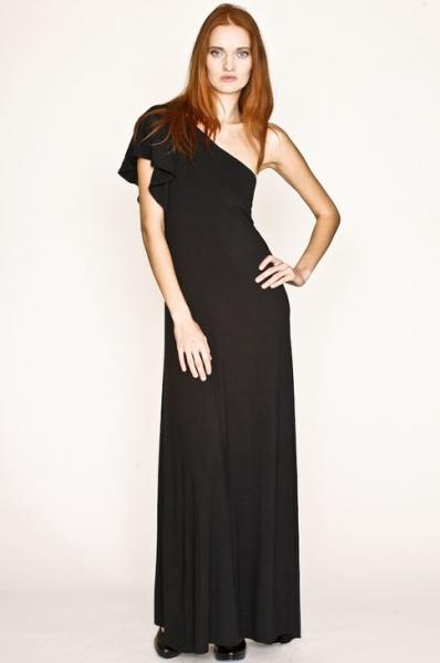 Quality Black Chic One Shoulder Wedding Hostess Dresses in XS , S ,M , L , XL , XXL Size for sale