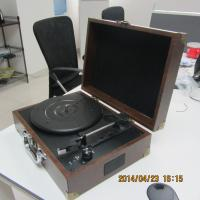 2014 most popular leather super thin suitcase turntable player with MP3 player