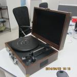 China 2014 MP3プレーヤーを持つ最も普及した革極度の薄いスーツケースの回転盤プレーヤー wholesale