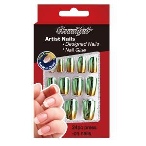 Buy cheap Plating Adult Nail Art Fake Nails Green / professional healthy false nail from wholesalers