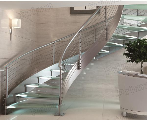 Indoor Curved Glass Stairs Stainless