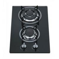 China 8mm Tempered Glass 2 Burner Gas Hob / Gas Cooker Cast Iron Pan Support wholesale