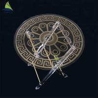 China Environmental Custom Acrylic Furniture Round Shape Gold Color Foldable Outdoor Acrylic Table on sale