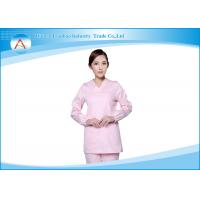 China Cotton Stylish Medical Scrubs Uniforms For Women , White And Pink Stretch wholesale