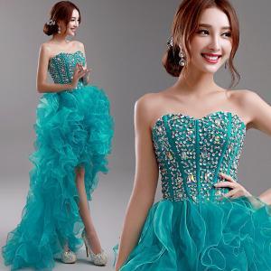 China Small Bra Beaded Slim Waist Short Front Longer Back Elegant Evening Dresses TSJY074 wholesale