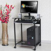Buy cheap Tempered Glass And Wood Home Computer Table Black Color Movable Study Table DX from wholesalers