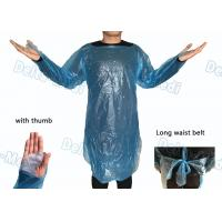 China Waterproof Medical Plastic Products CPE Surgical Gown / Isolation Gown With Thumb Loop Cuff wholesale