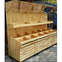 China Fruit And Vegetable Wooden Display Rack With Mirror wholesale