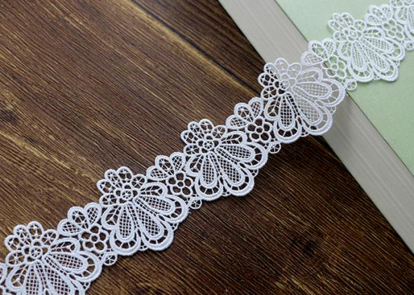 Quality Azo Free DTM Guipure Embroidered Dress Lace Trim Ribbon With High Color Fastness for sale