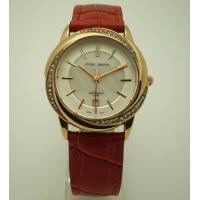 China women Dark Red Leather Strap Watches / Waterproof Lady Watch With Shine Stone on sale