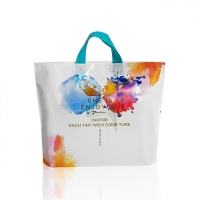 China LDPE Logo Printed White Plastic Shopping Tote Bag on sale