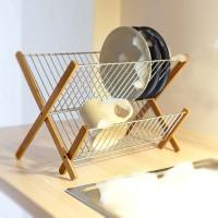 China Cross Style Wooden Plate Display Rack , Bamboo Stainless Steel Dish Drying Rack wholesale