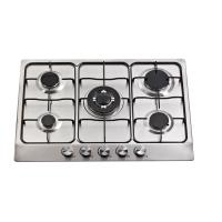 SS Top 5 Burner Gas Cooktop With Auto Igntion Enamel Pan Support Bikelite Knob