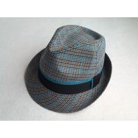 China Cool Multi Color Fabric Fedora Straw Hats For Men , Orange Lining Around Crown wholesale