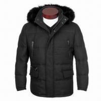 China Men's 90% Down Jacket with Real Fox Fur, Made of Woolen Large Twill Fabric, Detachable Hood on sale