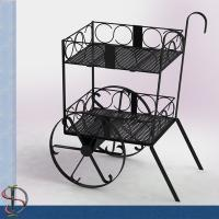 China Wine Bottles Cart Food Display Stands With Slope Wire Shelves Two Layers on sale