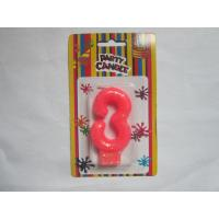 Pink Number Three Birthday Candle 19.3g Glittering Paraffin Wax For Party