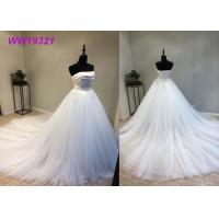China Stunning Organza Strapless Ball Gown Wedding Dresses , Long Train White Lace Ball Gown wholesale