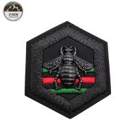 China Bumble Bee Black Custom Embossed Leather Patches Washable With Sew On Backing wholesale