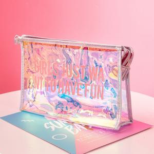 China Leak Proof Lady Laser Clear PVC Cosmetic Bag Custom Logo wholesale