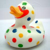 China Dot Painting Multi Colored Rubber Ducks Toy , Custom Mini Blue Rubber Ducks RoHS wholesale