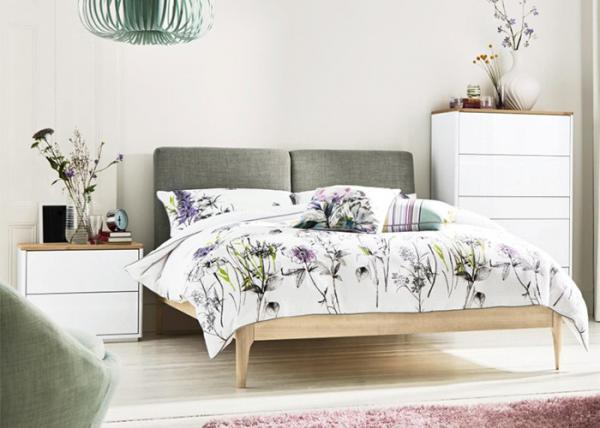 Quality Ash Wood + MFC Modern Bedroom Furniture Sets With Fabric Bed Head 3 Years Guarantee for sale