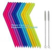 China Anti-Cutting Mouth Flexible Silicone Straw Metal Straw With Silicon Tip Sleeve Cleaning Brushes Set Reusable Silicone Dr wholesale