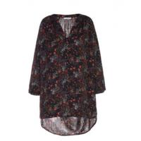 China Flower Print Ladies V Neck Women'S Clothing Blouses With Round Hem Chiffon Woven Fabric Style on sale