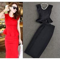 China Graceful Round Neck Two Piece women business suits split skirt plus size wholesale