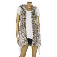 China Leopard Printing Fashionable Winter Coats Faux Fur Full Lining Sleeveless Hooded Jacket on sale