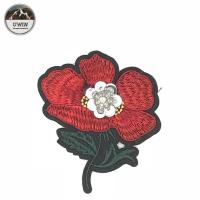 China Red / Green Iron On Embroidered Flower Patches 8.5 * 9CM Size For Work Blouse wholesale