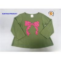 China Knot Bow Applique Top Long Sleeve Crew Neck Baby Girl T Shirt wholesale