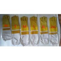 China Fit Beekeeping Gloves Sting Proof Yellow White Cavans Cuff Yellow Ventilated Parts wholesale
