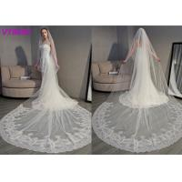 China Long Soft Lace Ivory Wedding Veils / 3D Flowers Edging Muslim Bridal Veil 5 Meters wholesale