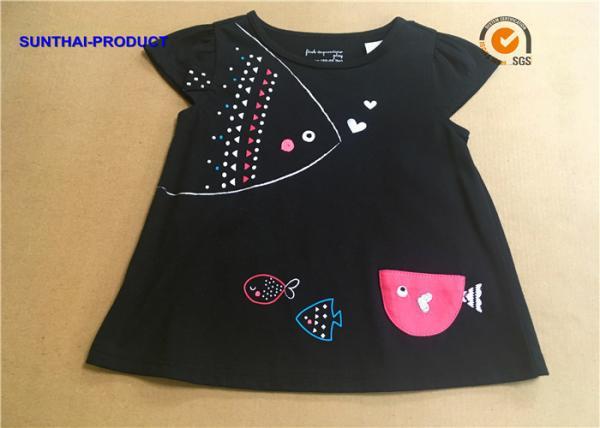 Quality 3D Fish Cap Children T Shirt Crew Neck Baby Girl Black Long Sleeve Shirt for sale