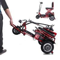 China Electric three wheel scooter for elderly people folding tricycle 12AH lithium Battery wholesale