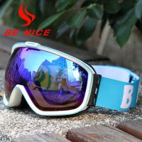 China High End Blue Reflective Ski Goggles , Anti Fog Snow Goggles For Cloudy Days wholesale
