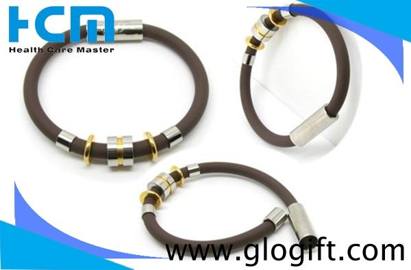 Gold Plating Titanium Sports Silicone Negative Ion Wristband Bracelets
